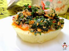 """Vegetable egg sauce with Fluted pumpkin """"Ugu"""" leaves"""