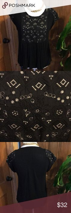 Anthropology Black & Gold embroidered too Soft and flowy black and gold embellished top from Anthto. Anthropologie Tops
