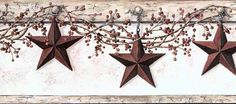 Barn Star and Pip Berry Wallpaper Border - Wallpaper & Border | Wallpaper-inc.com