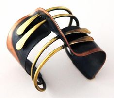 """Art Smith  American  """"Modernette"""" Cuff, c. 1948  Brass and copper  Stamped """"Art Smith""""  2 1/2"""" x 2 1/2"""""""