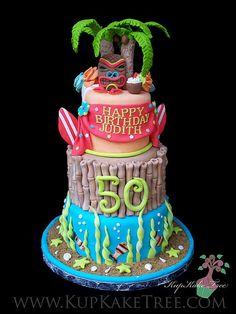 Hawaiian themed Birthday Cake - I want this and Hawaii on my 50th!!