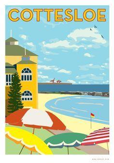 AUSTRALIA - Cottesloe - Contemporary print by Mokoh vintage style travel poster Posters Uk, Art Deco Posters, Cool Posters, Retro Posters, Vintage Beach Posters, Vintage Art, Retro Art, Vintage Style, Funny Vintage Ads