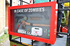 Zombie emergency case I wish I could make this for Ronny's man room Zombie Apocalypse Survival, Survival Weapons, Survival Tips, Survival Skills, Zombies Survival, Survival Shelter, Homestead Survival, Casa Bunker, Halloween Animatronics