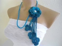 Flower Lariat Scarf Blue Necklace with crochet by likeknitting, $9.99