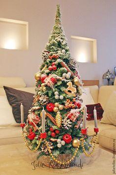 Купить Рождественская елочка со свечами - ярко-красный, зеленый, настольная елка, Свечи