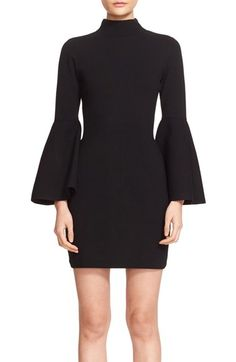 Free shipping and returns on Milly Bell Sleeve Mock Neck Knit Dress at Nordstrom.com. Extravagant bell sleeves make a striking impression on a sinuous stretch-knit dress with slim vertical ribbing and a mock turtleneck to accentuate the lean lines.