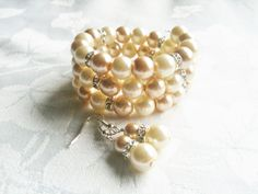 Gold & Ivory Pearl Chunky Beaded Bracelet and by InfinityByClaire, £10.00
