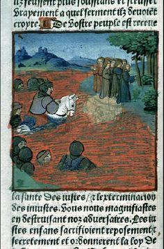 Soldats dans une mer en feu, le #rouge utilisé pour symboliser les flammes dans cette représentation d'une bible historié au tout début de l'imprimerie, soit en 1495 #incunable #numelyo