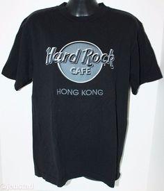HARD ROCK CAFE HONG KONG BLACK GRAY WHITE TSHIRT MEN M SHIRT MEDIUM HARD TO FIND #HardRockCafe