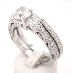 Round cut diamond engagement ring and band antique 1.33ctw