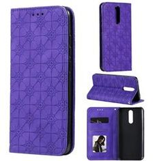 Intricate Embossing Four Leaf Clover Leather Wallet Case for Xiaomi Redmi Note / Pro / Note 9 Pro Max - Purple Iphone Se, Iphone 8 Plus, Leather Wallet, Pu Leather, Four Leaves, A30, Card Patterns, Easy Install, Four Leaf Clover