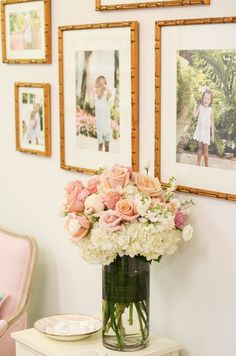 flower arrangement | blush pink rose and hydrangea Central Hall, Photo Frame Design, Feminine Decor, Entry Way Design, Birthday Dinners, Frames On Wall, Flower Power, Design Elements, Flower Arrangements