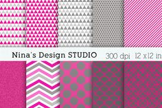 Hot Pink and Gray Digital Papers ~ Textures on Creative Market creativemarket.com