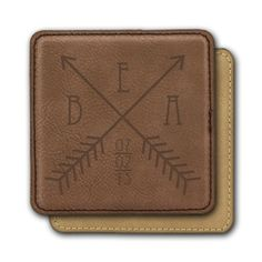 Square Leather Coasters (6) - Two Arrows Crossing Design Personalized with Monogram and date
