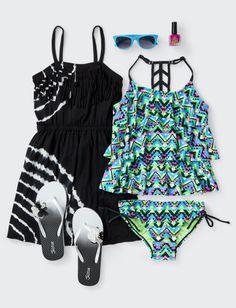 Girls Green Aztec Tankini Swim   Shop Justice
