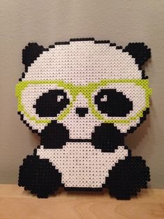 Perler beads hipster panda (Unknown design) Hama Nabbi