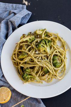 Kale & Walnut Pesto Pasta with Roasted Vegetables