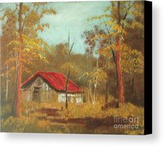 Landscape Canvas Print featuring the painting Barn In The Forest by Vesna Antic