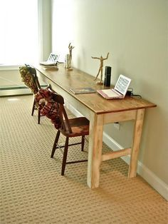 I want to make this!  DIY Furniture Plan from Ana-White.com  Some dining spaces (or even work spaces) require a long thin table. This rustic simple table is easy to build, yet sturdy and stylish. Special thanks to Deux Maison for sharing their amazing photos. Make sure you stop over to see more photos and read about their building experience.