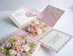 Floral Explosion Box (Site: photos only) Pop Up Box Cards, 3d Cards, Easel Cards, Explosion Box, Exploding Box Card, Magic Box, Memories Box, Karten Diy, Step Cards