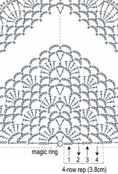 Crochet Bedspread Pattern, Crochet Flower Patterns, Crochet Designs, Crochet Shawl Diagram, Filet Crochet, Crochet Stitches, Crochet Cape, Crochet Scarves, Crochet Patron