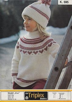 Eva K 595 by Sandnes Kamgarn Spinneri {free pattern}. Baby Sweater Knitting Pattern, Fair Isle Knitting Patterns, Knit Patterns, Norwegian Knitting, Toddler Sweater, Embroidery Suits Design, Knitting For Kids, Knit Crochet, Free Pattern