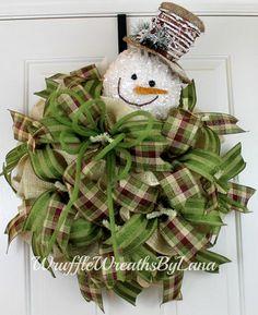 Winter Burlap Wreath Burlap Snowman Wreath by WruffleWreathsbyLana