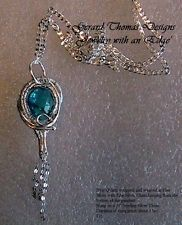 Artisan Handmade Blue Quartz, Silver Wire Wrap & Weaved Pendant Necklace by GTD