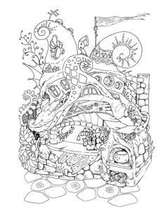 Nice Little Town 4 Adult Coloring Book Pages PDF Printable For Stress Re