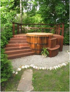 Corrigan hot tub.....i love the idea of having this steps away from.the house rather than taking up deck space