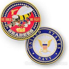 Navy Seabee geocoin - polished gold