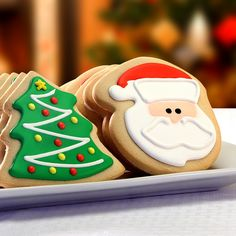 Corso's Cookies   Season's Greetings Santa & Tree Decorated Cookie Gift Box