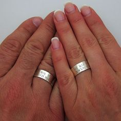 Couple's Ring Set  Personalized Sterling Silver by EngravedJewelry