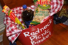 Redneck Picnic Basket (Recipes We Love) - Very fun idea! Great for a funny gift. i am so doing this for our christmas grab basket