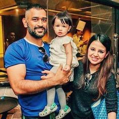 MS Dhoni with his daughter Ziva & wife Sakshi - http://ift.tt/1ZZ3e4d