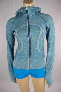 LULULEMON Blue Wee Are From Space Scuba Hoodie Fleece Lined Jacket Sz XS