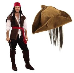 MENS-CARIBBEAN-PIRATE-FANCY-DRESS-COSTUME-WITH-FREE-WIG-HAT