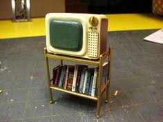 Dollhouse Miniature Furniture - Tutorials | 1 inch minis: 1 INCH SCALE MID-CENTURY PORTABLE T.V. TUTORIAL - How to make a mid-century portable T.V. for your dollhouse.