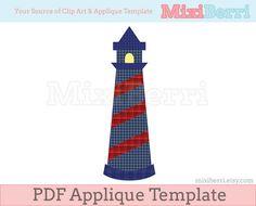 Applique Pattern Lighthouse PDF Applique Template Instant Download
