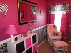 Mias Pink & Zebra Room, I wanted an over the top pink & zebra room for our little girl.  Everything turned out exactly the way we wanted it., The storage unit and fabric cubes are from Target, and the mirror is from Home Depot.   , Nurseries Design