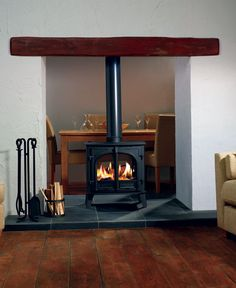 double sided wood burning stove, between dining and living room Home Fireplace, Living Room With Fireplace, Fireplace Design, Fireplaces, Double Sided Log Burner, Wood Burning Fireplace Inserts, Estilo Interior, Multi Fuel Stove, Double Sided Fireplace