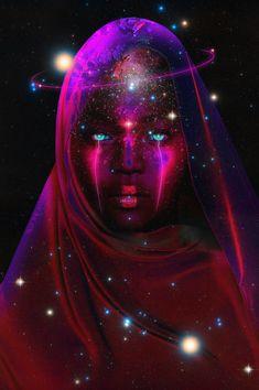"""Tilly The Artist — """"A Neon Entity"""" Just a beautiful portrait of a. Black Love Art, Black Girl Art, Psychedelic Art, African American Art, African Art, Black Artwork, Tarot, Afro Art, Magic Art"""