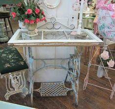 Repurposed Items, Repurposed Furniture, Painted Furniture, Sewing Machine Tables, Vintage Sewing Machines, Old Sewing Tables, Vintage Sewing Table, Furniture Makeover, Diy Furniture