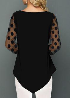Mesh Panel Dot Print Asymmetric Hem T Shirt Trendy Tops For Women, Blouses For Women, Women's Purple Shirt, Beste Leggings, Plus Size Jeans, Shirt Blouses, Punk Fashion, Lolita Fashion, Emo Outfits