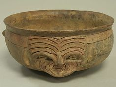 Bowl with Face Date: 5th–4th century BCE Geography: Peru Culture: Chavin (?) Medium: Ceramic Dimensions: H x W x D: 3 x 6 1/2 x 6 5/8 in. (7...
