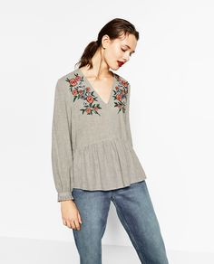 EMBROIDERED V-NECK BLOUSE-View all-TOPS-WOMAN | ZARA United States