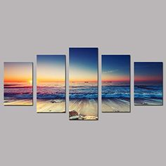 """SZ HD Painting Canvas Prints for Home Decoration, Framed, Stretched- 5 Panels Starfish Shell & Blue Sea Picture Print on Canvas- Modern Home Decor Wall Art- 40""""W x 20""""H overall (SMALL size)"""