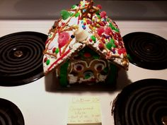 Christmas gingerbread house! (view of front and top)                      ~ 2012 ~