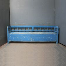 Benches - An antique pine box bench hand scraped to its genuine original blue paint. Painted Benches, Painted Boxes, Storage Benches, Bench With Storage, Antique Bench, Rustic Bench, Country Furniture, Grey Paint, Hallways