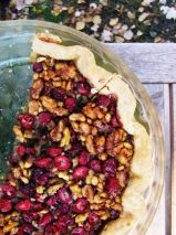 """Cran Maple Walnut Pie  1 9"""" single pie crust  4 eggs  1/4 cup sugar  1/4 cup brown sugar  6 T butter melted  1 cup pure maple syrup  3/4 cup chopped fresh cranberries  3/4 cup chopped walnuts    -beat eggs in large bowl  -add remaining ingredients  -stir until well blended  -pour into prepared pie shell  -bake at 400 degrees fro 10 minutes  -reduce heat to 325 degrees  -bake an additional 55 minutes"""